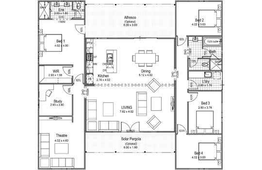 Floor plans on pinterest floor plans bedroom apartment Breezeway house plans