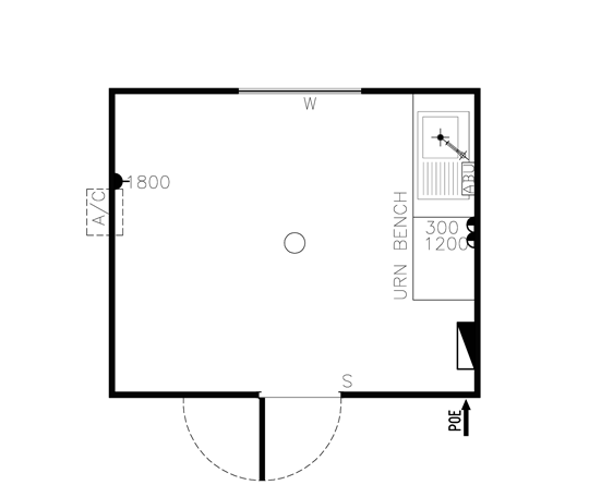 AMS Lunchroom/Crib 3.6m (LR-001) Floorplan
